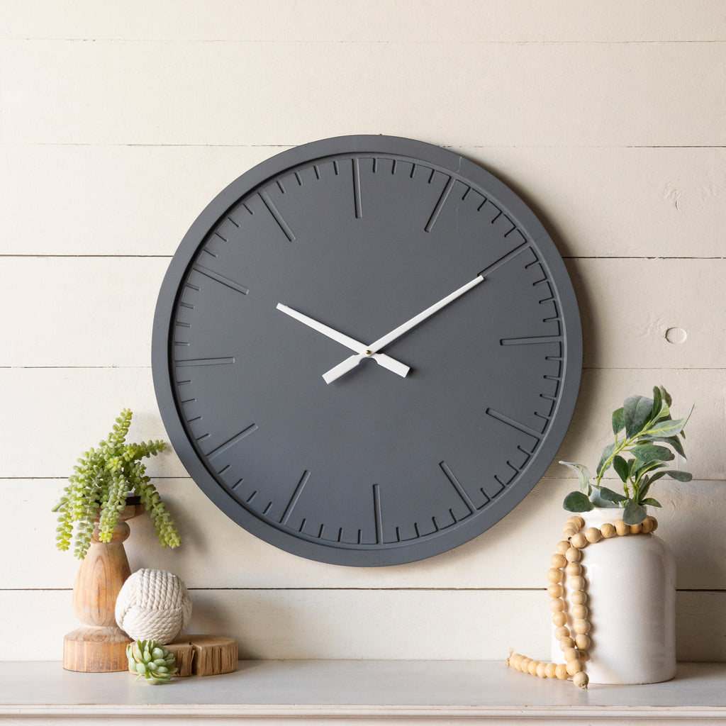 Matte Gray Wall Clock 24""