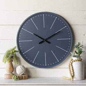 Navy Blue Wall Clock 24""