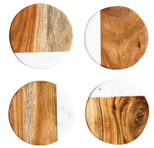 Marble & Wood Coasters Set/4 - 4in