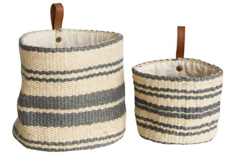 Jute Basket with Leather Hoop Set/2 - 4 x 4; 6.5 x 6in