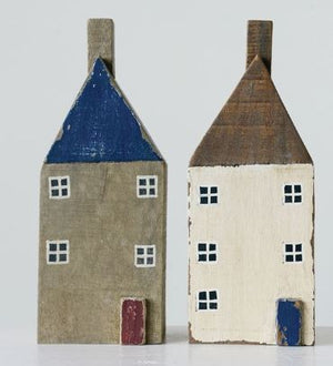 Mango Wood House Set/2 - 3.5 x 5 x 13.5in