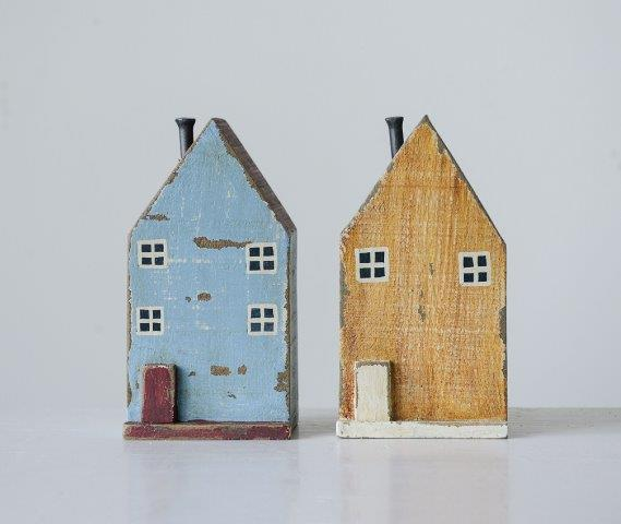 Mango Wood & Metal House Set/2