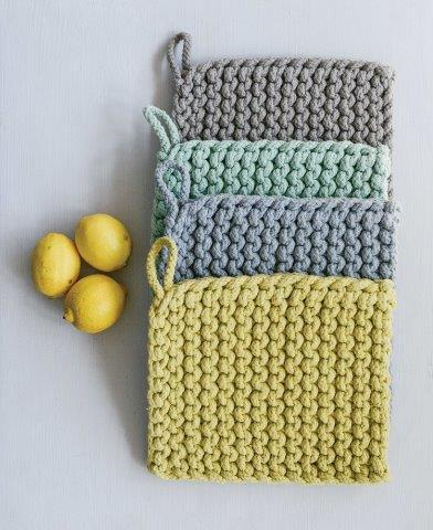 Crocheted Potholder Set/4 - 8in