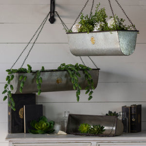 GALVANIZED PLANT BASKETS SET/3