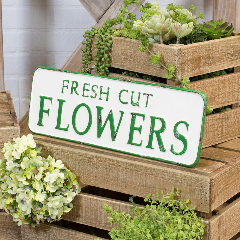 "Metal Sign ""Fresh Cut Flowers"""