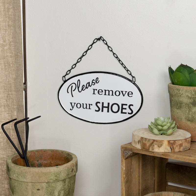 REMOVE SHOES ENAMEL SIGN