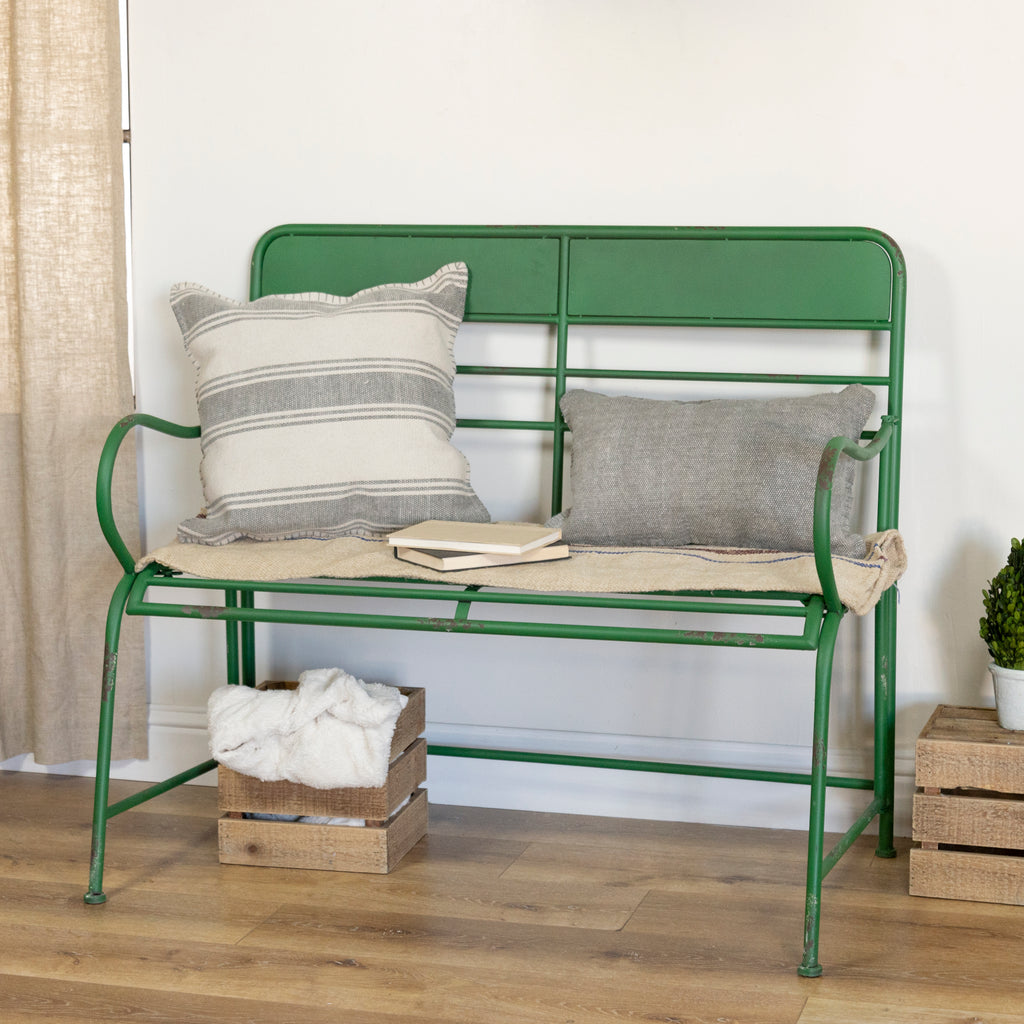GREEN METAL BENCH
