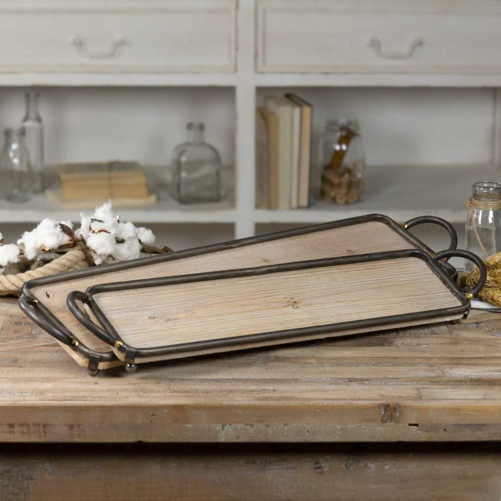 WOOD TRAY SET/2