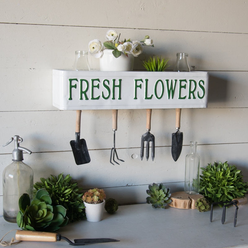 "Metal Shelf ""Fresh Flowers"" with Antique Finish"