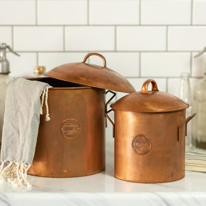 Set of 2 Copper Canisters