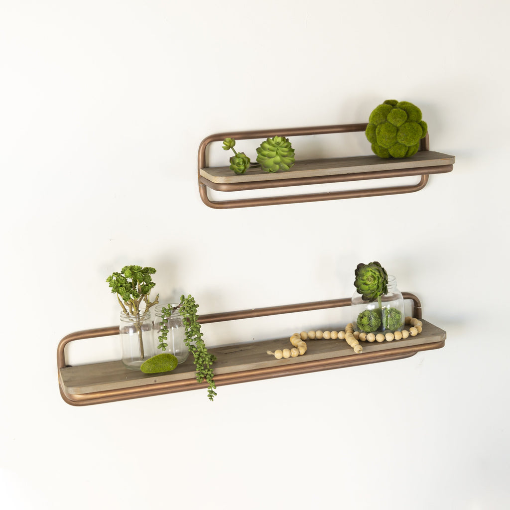 Set of Two Wooden Shelves