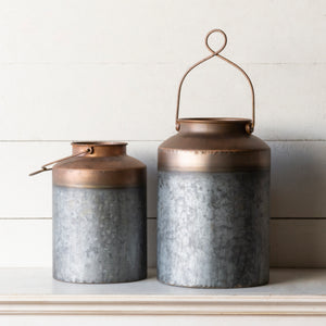 Set of Two Copper Canisters