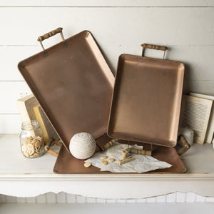 Set of Three Copper Trays