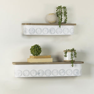 Set of Two White Metal Shelves