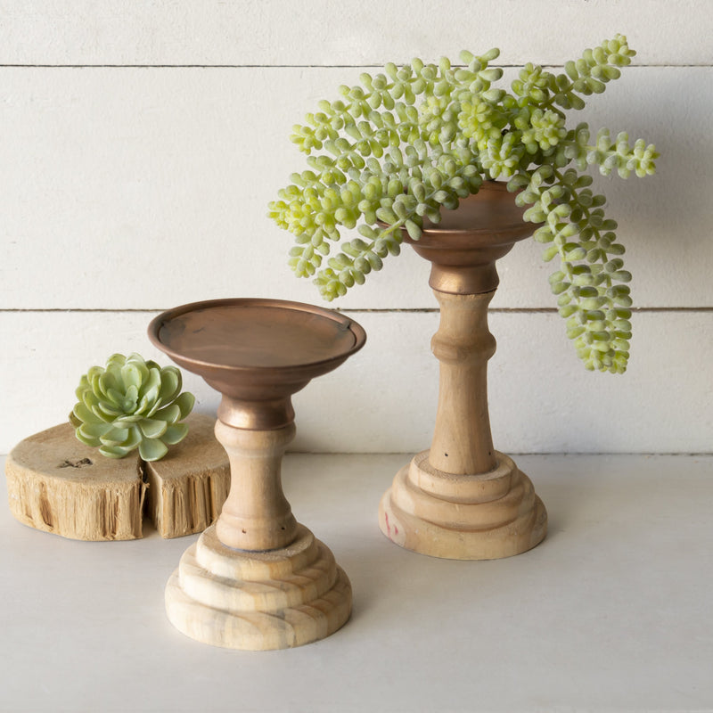 Set of Two Wooden Candleholders