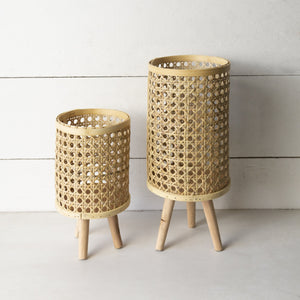 Set of Two Rattan Planters