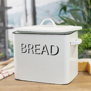 Metal Enamelware Bread Box
