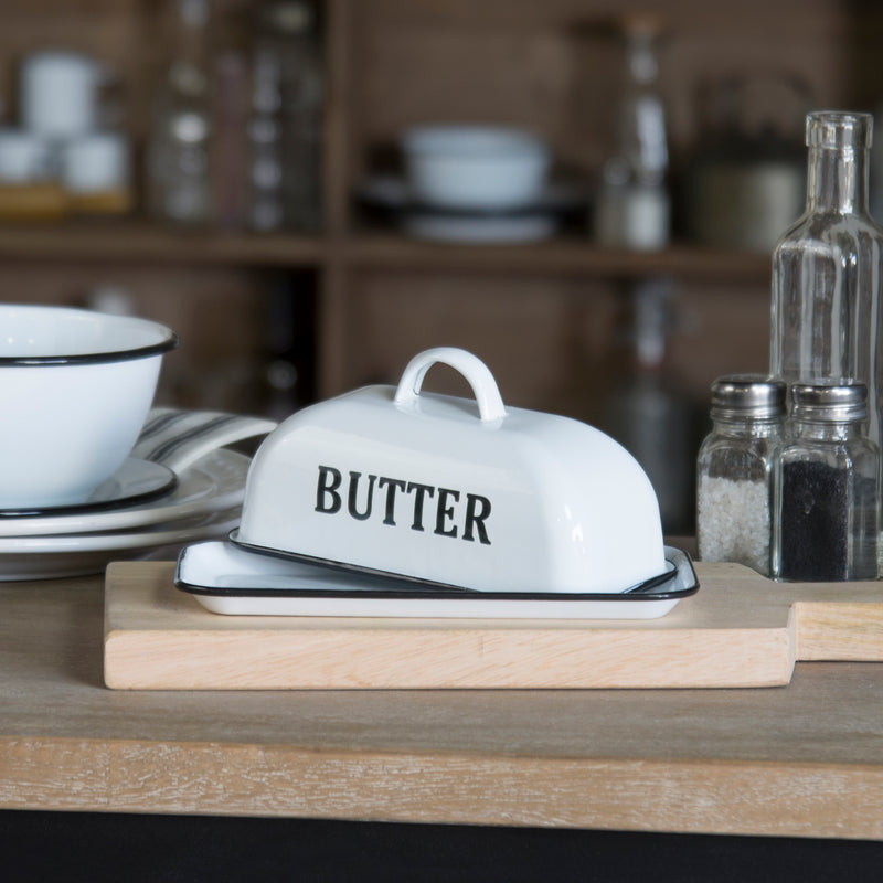 Metal Enamel Butter Dish with Gloss Finish