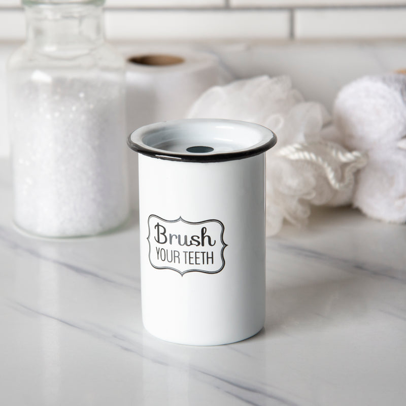 Metal Enamelware Toothbrush Holder with Gloss Finish