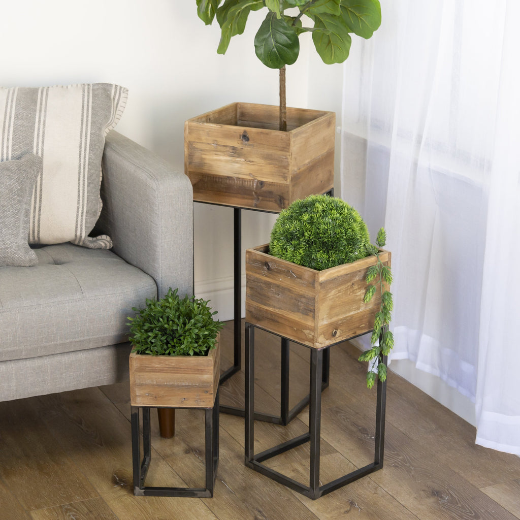 Set of Three Planters on Stands