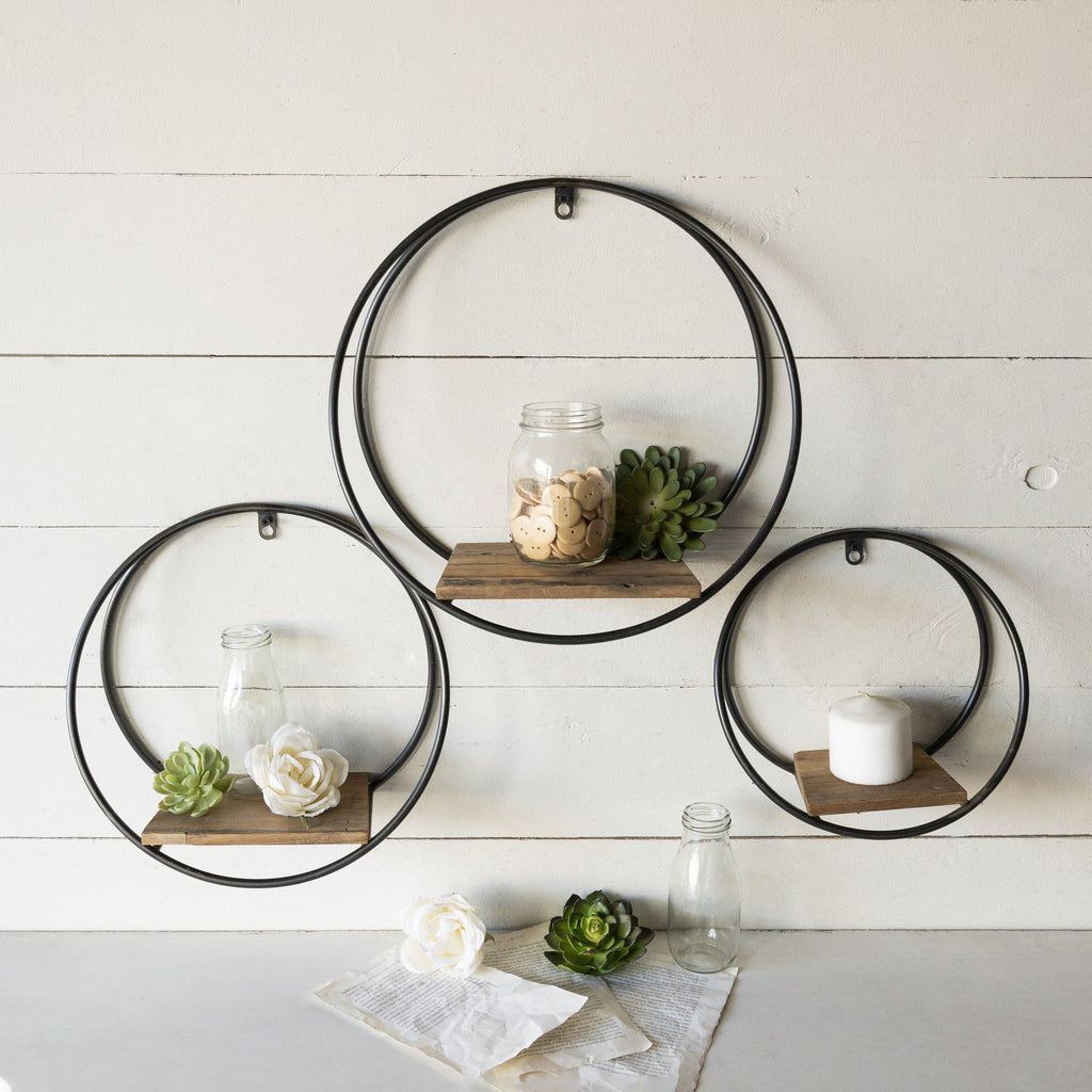 Set of Three Round Shelves