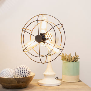 Metal Triple Light Fan White with Shaped Metal Tube Body