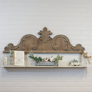 "Wood Scroll On the Wall 47"" with Distressed Finish"