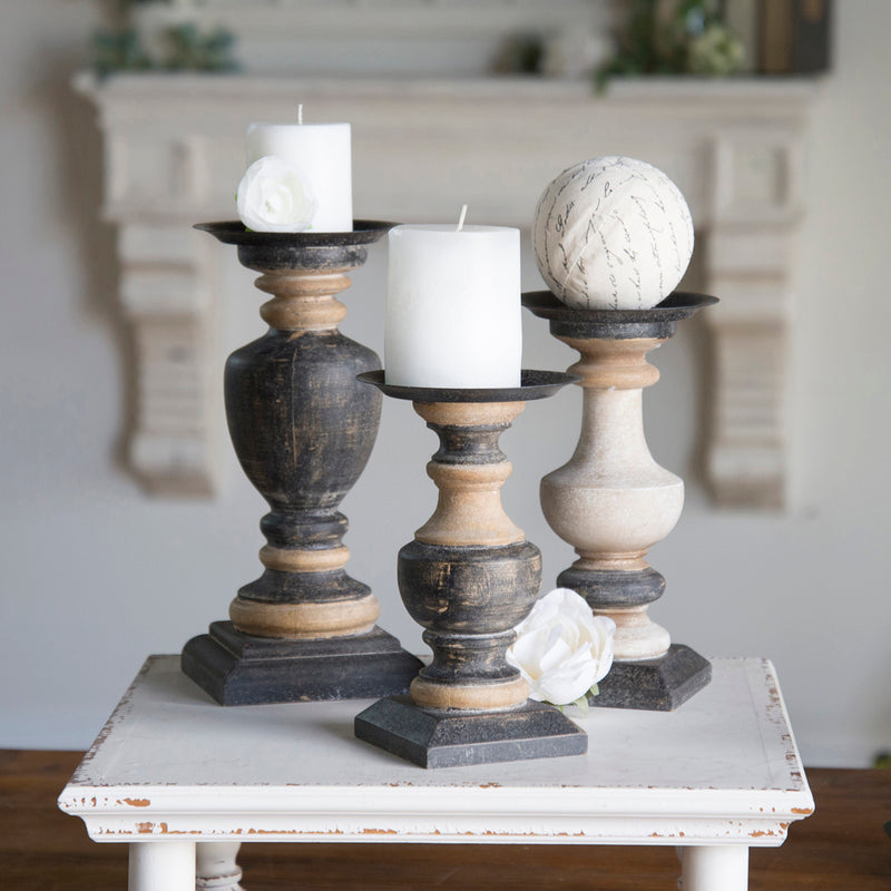 Wood Candle Holders Set/3