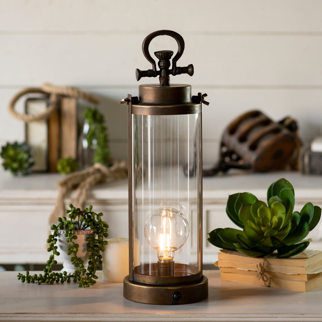 Glass Lantern with LED