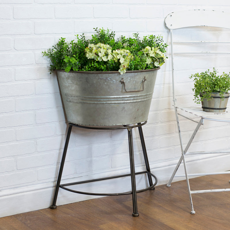 Metal Galvanized Half Tub On Stand