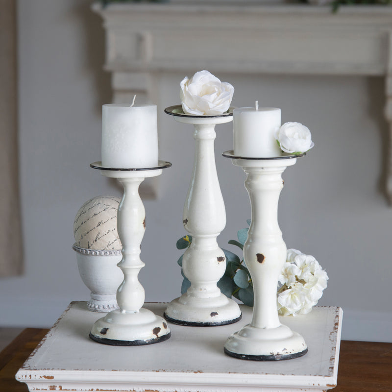 Metal Candle Holders Set/3 with Distressed Finish