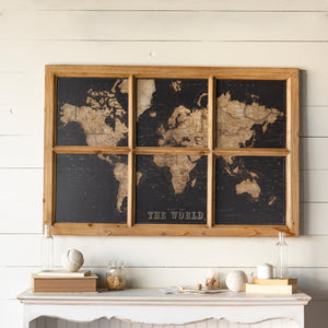 Wood Framed World Map