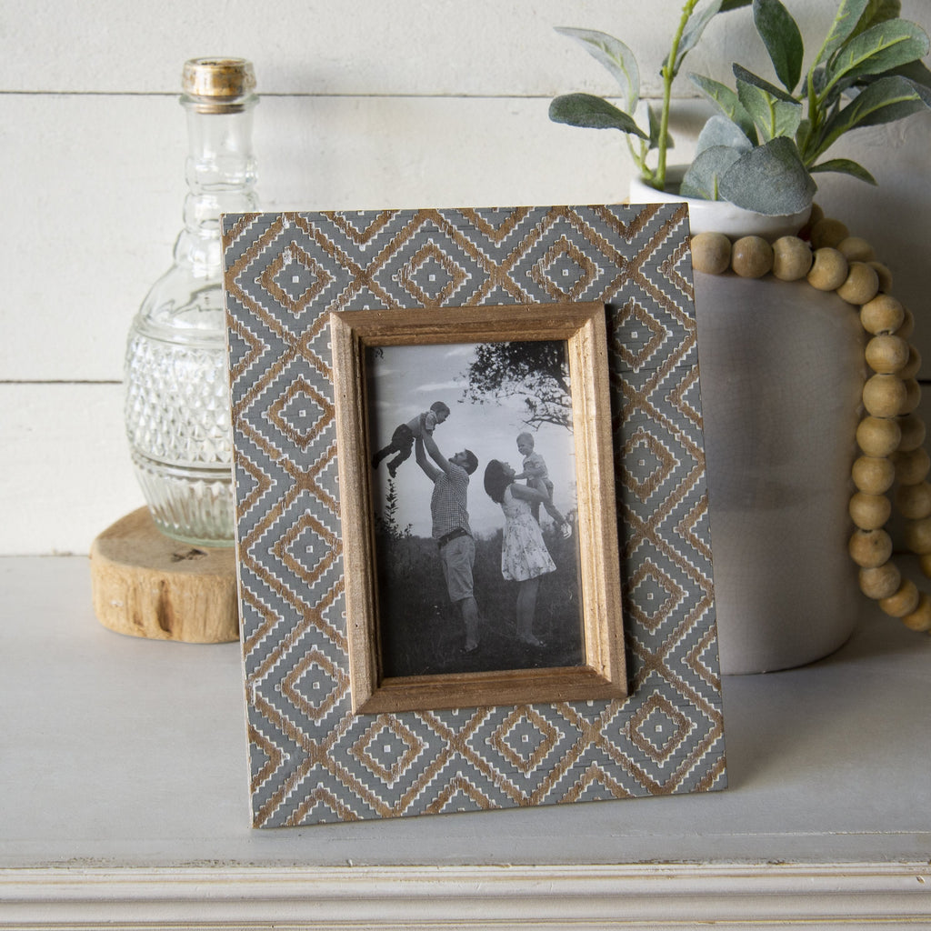 Gray/Wood Trim 4x6 Frame