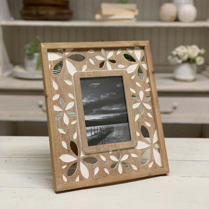 Flower Pattern 4x6 Wood Picture Frame
