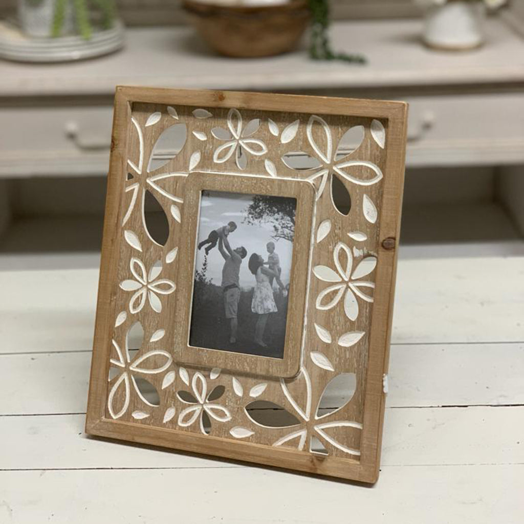 Flower Pattern  Wood Picture Frame