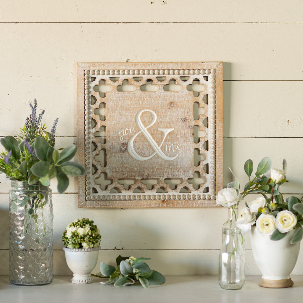 "Wood Sign ""&"" with White Washed Finish"