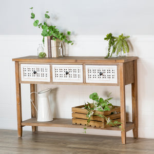 Woven 3-Drawer Table