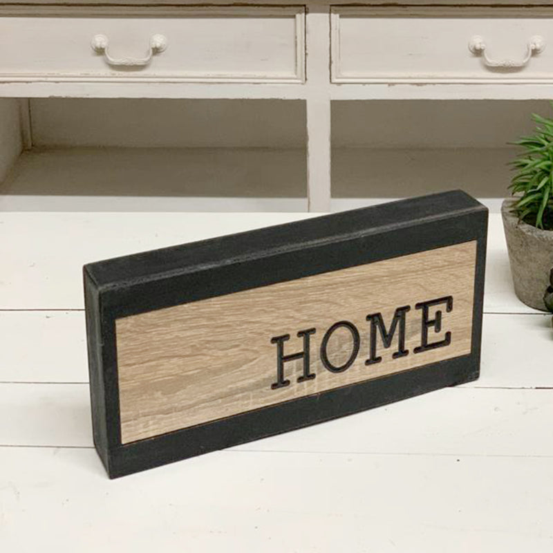 "2 Tone Wood Block ""Home"" Sign"