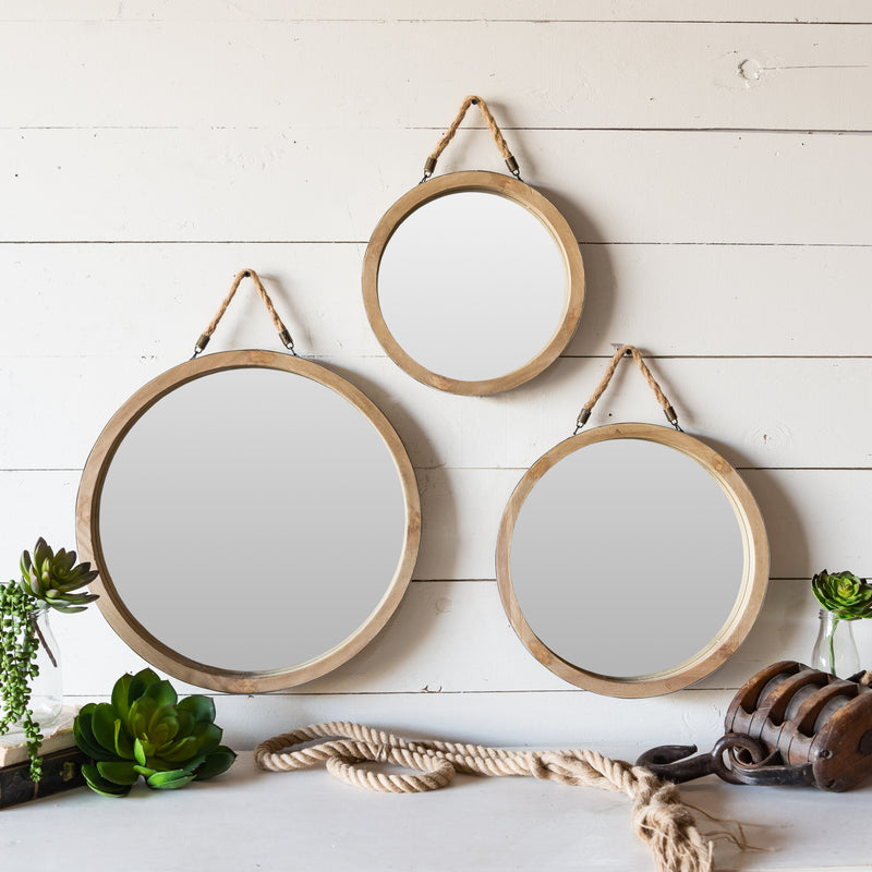 Wood Framed Mirrors S/3 with Natural Finish