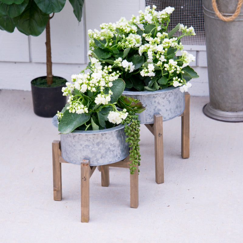 Metal And Wood Planters S/2 with Antique Finish