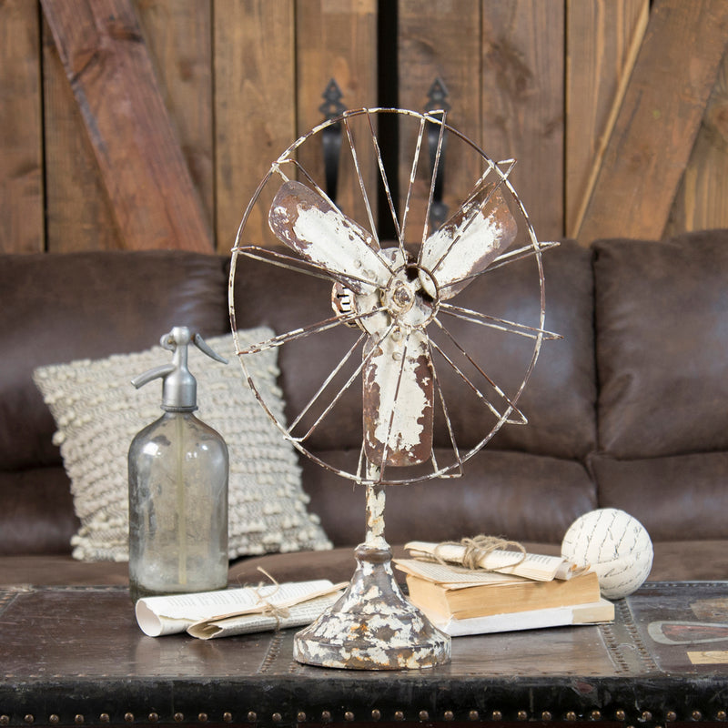 Distressed Metal Fan Decor