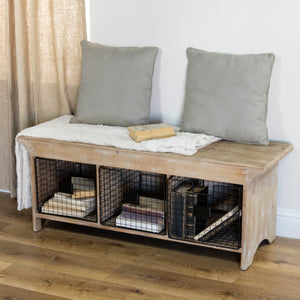 Wood Bench w/ Baskets