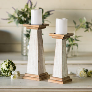 Wood Candle Holders S/2 with Antique Finish