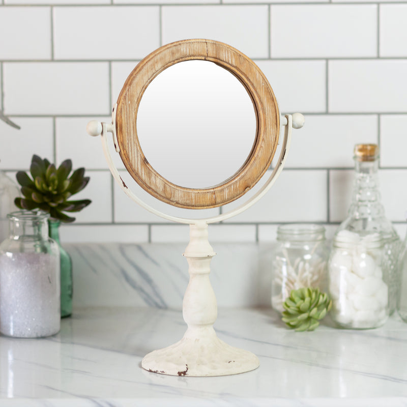 Metal And Wood Standing Mirror with Antique Finish