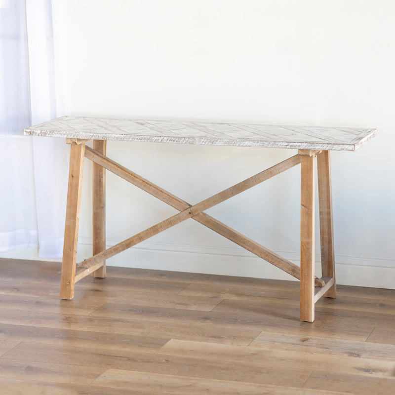 Wood Table with Whitewashed Wood Top