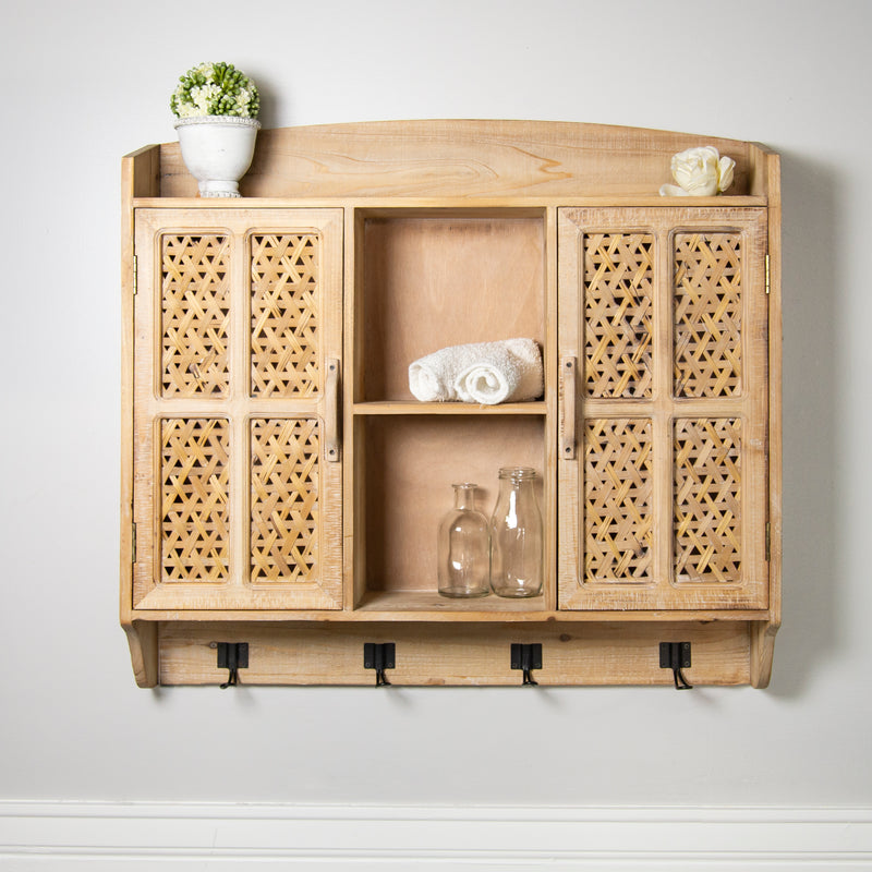 Wood Wall Cabinet with Natural Finish