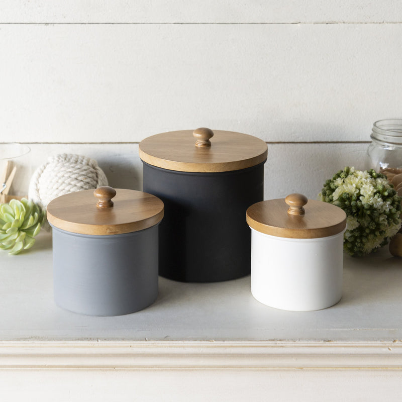 Set of Three Wood Top Canisters