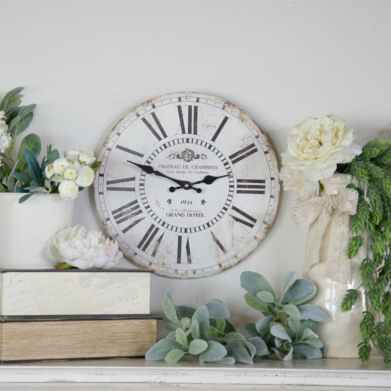 "Wood 13"" Wall Clock White"