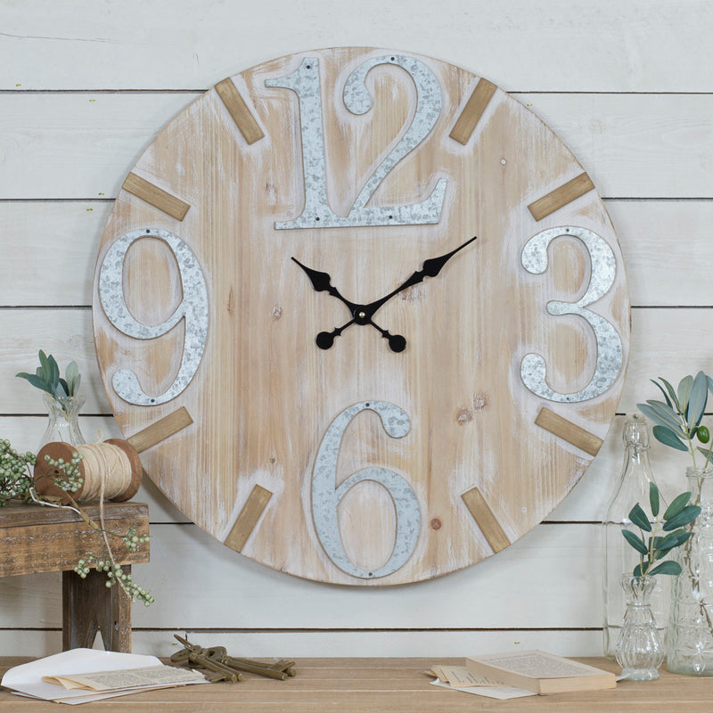 Wood/Metal Wall Clock 28""