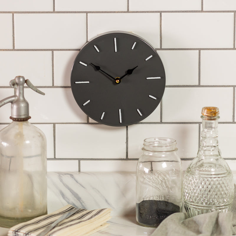 Metal Wall Clock Gray with Clean Gloss Finish